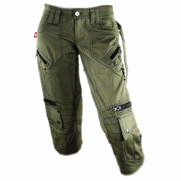 Pantacourt Zip on the back vert kaki